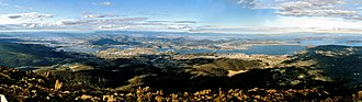 Hobart - Panorama of Hobart from Mount Wellington in March 2005