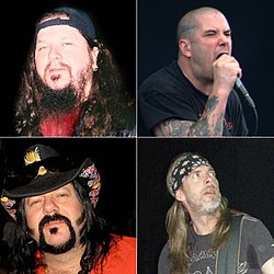 Dimebag Darrell, Phil Anselmo, Vinnie Paul eta Rex Brown.