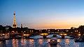 Paris sunset as seen from the Pont Alexandre III, 5 July 2015.jpg