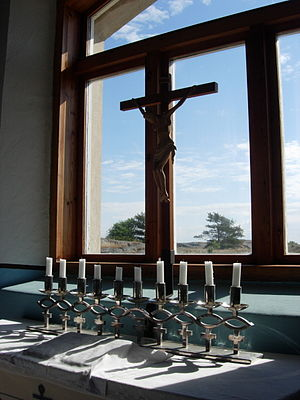 Seagoing cowboys - SS Park Victory commemorative candle holder in Utö Chapel