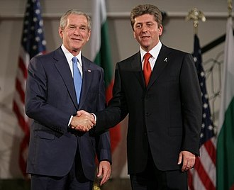 Georgi Parvanov - President George W. Bush and President Georgi Parvanov shake hands, 11 June 2007, in Sofia, Bulgaria.