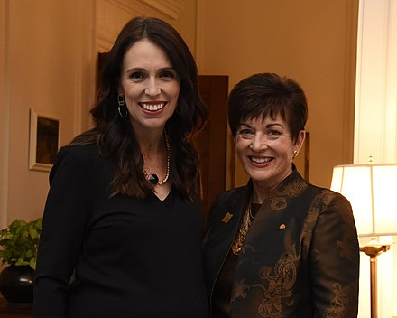 Prime Minister Jacinda Ardern with Governor-General Dame Patsy Reddy, May 2018 Patsy Reddy and Jacinda Ardern.jpg