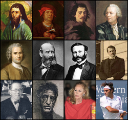 Notable Swiss of different periods and origins[1] Mikuláš z Flüe • Paracelsus • Borromini • Euler Rousseau • Alfred Escher • Henry Dunant • Carl Jung Le Corbusier • Giacometti • Ursula Andress • Roger Federer