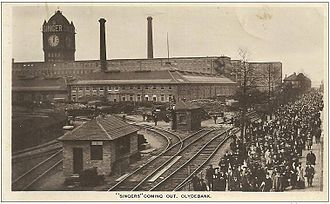 Singer Corporation - Workers leaving Singer Sewing Machine Factory on Clydebank