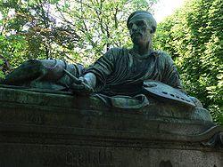 Une statue de bronze d Antoine Étex orne la tombe de Théodore Géricault au cimetière du Père-Lachaise.