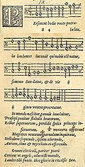 Personent hodie in the 1582 edition of Piae Cantiones, image combined from two pages of the source text.