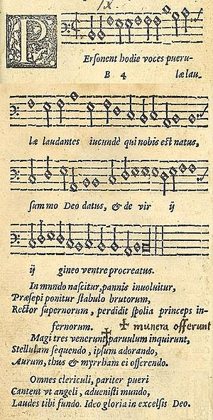 Personent hodie - Personent hodie in the 1582 edition of Piae Cantiones, image combined from two pages of the source text.