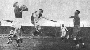 Football in Peru - Romanian goalkeeper against the Peruvian striker Lores during the 1930 FIFA World Cup.