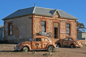 Artist-run initiative - The Peter Browne Gallery, an artist run initiative in Silverton, New South Wales, operates out of a renovated ruin with unique advertising out the front