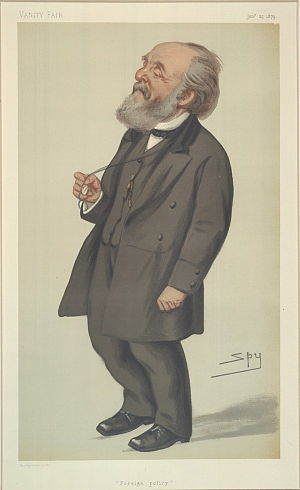 """Peter Rylands - """"Foreign Policy"""". Caricature by Spy published in Vanity Fair in 1879."""