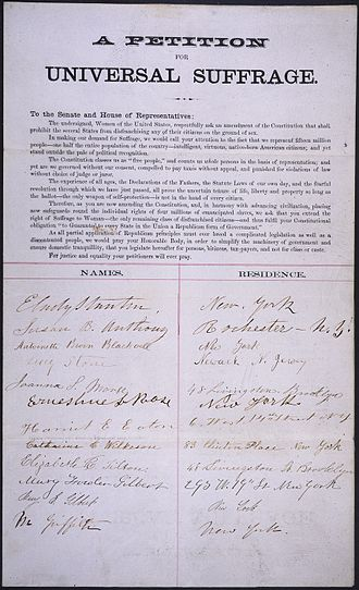 Lucy Stone - Petition signed by E. Cady Stanton, Susan B. Anthony, Lucy Stone, and others
