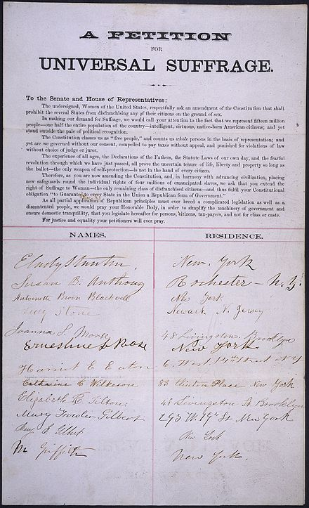 The petition of Stanton and other suffragists Petition of E. Cady Stanton, Susan B. Anthony, Lucy Stone, and others (1865).jpg
