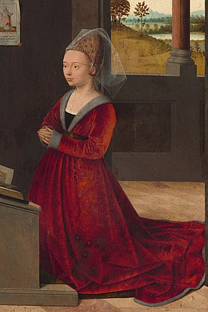 1400–1500 in European fashion - Fur-trimmed Burgundian gown of mid-15th century has a V-neck that displays the black kirtle and a band of the chemise. Hair is pulled back in an embroidered hennin and covered by a short veil.