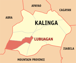 Map of Kalinga with Lubuagan highlighted