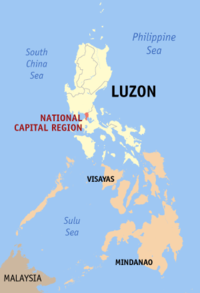 Map of the Philippines showing the location of Metropolitan Manila