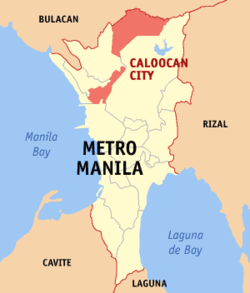 Map of Metro Manila with Caloocan highlighted