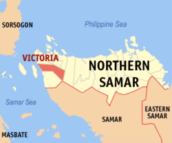 Map of Northern Samar with Victoria highlighted