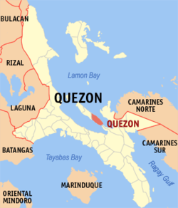 Map of Quezon showing the location of Quezon