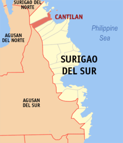 Map of Surigao del Sur with Cantilan highlighted