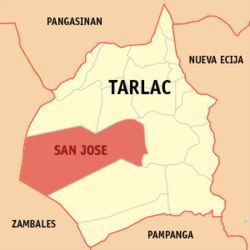 Map of Tarlac showing the location of San Jose
