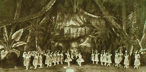 Marius Petipa - The Grand pas des chasseresses from Act I of Petipa's final revival of The Pharaoh's Daughter at the Mariinsky Theatre, St. Petersburg, 1898. In the center is Mathilde Kschessinskaya as the Princess Aspicia (right), and Olga Preobrajenska as the slave Ramzé (left).