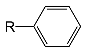 "Aryl - A phenyl group is the simplest aryl group, here bonded to an ""R"" group."