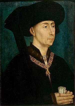 Chaperon (headgear) - Philip the Good, Duke of Burgundy after Rogier van der Weyden, c. 1450, has an unusually large bourrelet, surely hollow, worn in style D.
