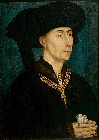 Philip the Good - Philip the Good, wearing the collar of firesteels of the Order of the Golden Fleece he instituted, copy of a Rogier van der Weyden of c.1450