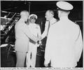 Photograph taken during the vacation cruise of President Harry S. Truman to Bermuda. President Truman shakes hands... - NARA - 198629.tif
