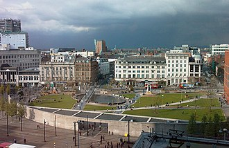 Piccadilly Gardens - Aerial view of Piccadilly Gardens