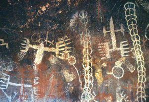 Burro Flats Painted Cave - Pictographs in the Burro Flats Painted Cave.