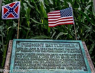 Battle of Piedmont - Battlefield monument on the roadside.