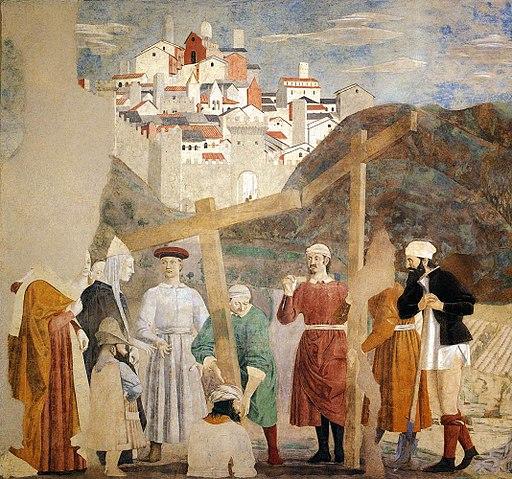 Piero della Francesca, Le Storie della Vera Croce, Ritrovamento delle tre croci (primo registro parete sinistra), Basilica di San Francesco, Arezzo