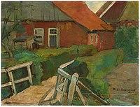 Piet Mondriaan - Farm buildings with bridge - A75 - Piet Mondrian, catalogue raisonné.jpg