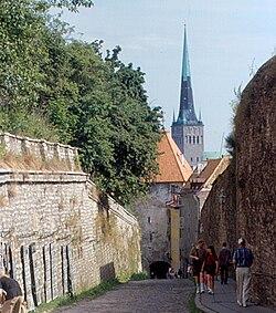 Вид улицы в сторону нижнего города. В перспективе улицы — надвратная башня Пикк ялг, за ней — шпиль церкви Олевисте