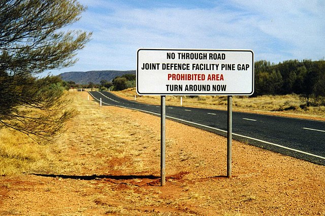 The road to the Joint Defence Facility of Pine Gap, near Alice Springs, Australia.