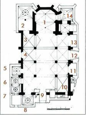 Co-Cathedral of Saint Mary Major, Mérida - Floor plan of the Cathedral:1. High altar; 2. The Blessed Sacrament Chapel; 3. Altar of the Santísimo Cristo de las Injurias; 5. Chapel of Our Lord Jesus Christ or of the Mendoza; 6. Old Sacristy; 7. House of Sexton; 8. Bautisto chapel or the Baptistery; 10. Altar of Our Father Jesus of Medina; 11. Chapel of Our Lady of the Forsaken or of the Vera; 12. Chapel and Dressing room of Nuestra Señora de la Guia; 13. Chapel of San Antonio; 14. Chapel of the Conde de la Roca - Chapter Hall.