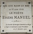 Plaque Eugène Manuel, 11 rue Mignard, Paris 16.jpg