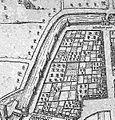 Plattegrond Maastricht uit atlas Civitates Orbis Terrarum (Braun en Hogenberg, 1575) - noordoostelijke stadswal tussen Lindenkruispoort en Boschpoort.jpg
