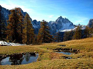 Jalovec (mountain) - Mount Jalovec seen from Mount Sleme