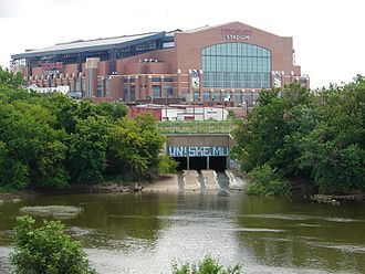 Pogue's Run - Pogue's Run emptying into the White River southwest of Lucas Oil Stadium