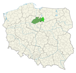 Map of Poland with a region marked. The region is in the upper middle and covers about 2% of the land area.