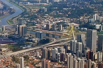 Octávio Frias de Oliveira Bridge - Aerial view of Octávio Frias de Oliveira bridge