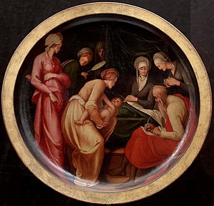 "Nativity of Saint John the Baptist - Birth of John the Baptist, Zechariah writing, ""His name is John"". Pontormo, on a desco da parto, c. 1526."