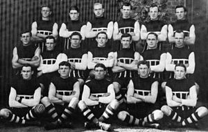 "Harold Oliver (Australian footballer) - Harold Oliver, third left middle row, with Port Adelaide's 1914 ""Invincible's"" team."