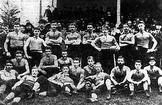 History of the Port Adelaide Football Club - Left: Junior Port Adelaide players at Alberton Oval in 1880, the first year the ground was used by the club for football. Right: Port Adelaide's first premiership team from the 1884 season.