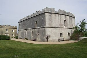 Portland Castle - The keep (centre) and the Captain's House (left) seen from the courtyard