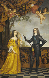Portrait of Mary, Princess Royal, in a yellow gown and William II in a black suit