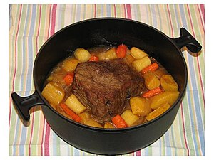 Beef top round with parsnips, carrots, onion, ...