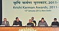 Pranab Mukherjee at the Krishi Karman Awards 2011-12 presentation ceremony, at Rashtrapati Bhawan, in New Delhi. The Union Minister for Agriculture and Food Processing Industries.jpg